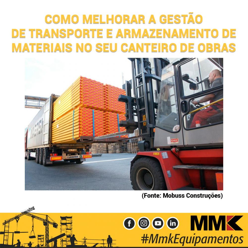 Como melhorar a gestão de transporte e armazenamento de materiais no seu canteiro de obras